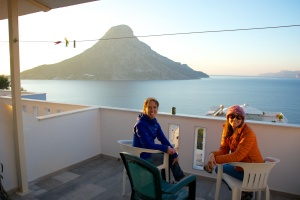 Heidi Wirtz and I relaxing on our deck with the island of Telendos in the background