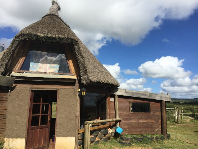 Our hut in Rocha, Uruguay at a ranch called Caballos De Luz.  It was solar operated and complete with compostable toilet.