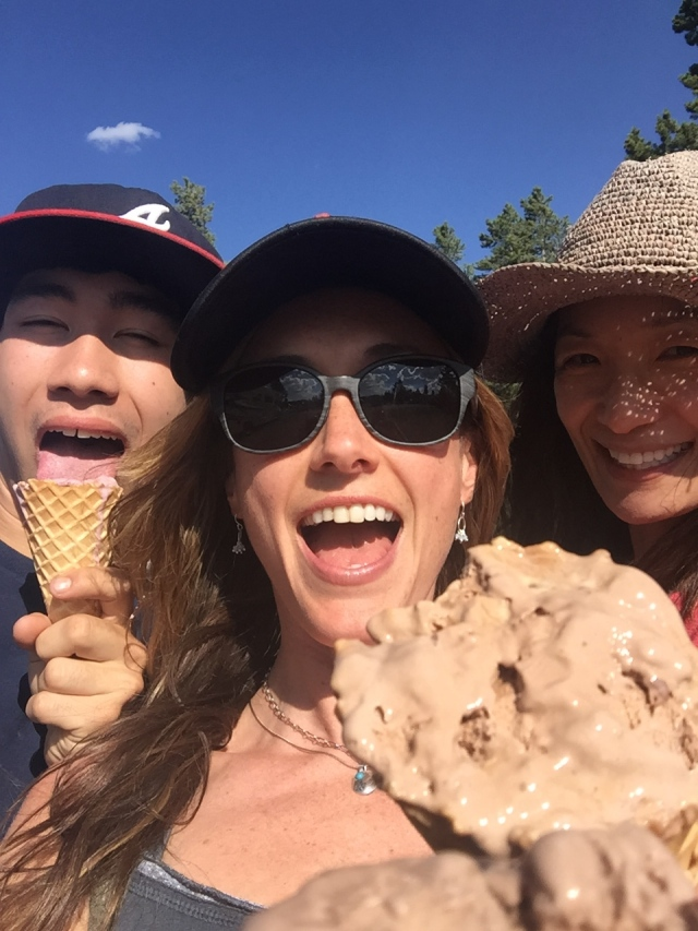 Ice cream with Elizabeth and her son in Yellowstone.  We waited in line for 30 minutes but it was worth it.