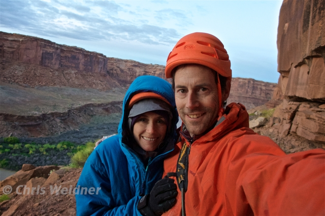"Chris and I take a post send selfie after we both completed our team Weidner FA of ""The Confession Box"" 5.12-"